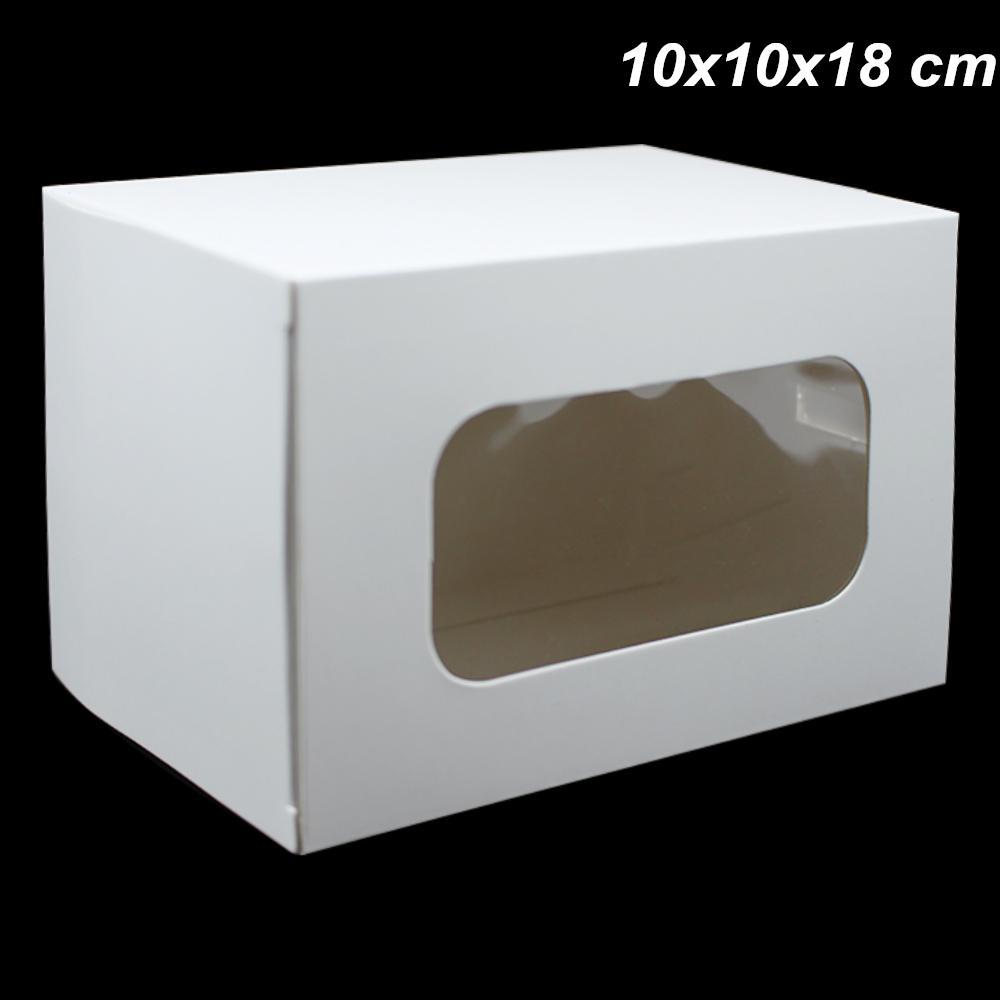 10x10x18 سنتيمتر 10 قطع الكثير الأبيض كرافت ورقة الهدايا تخزين صناديق التعبئة مع نافذة ورقة مجلس الهدايا كرتون حزمة صندوق التغليف للهاتف القضية