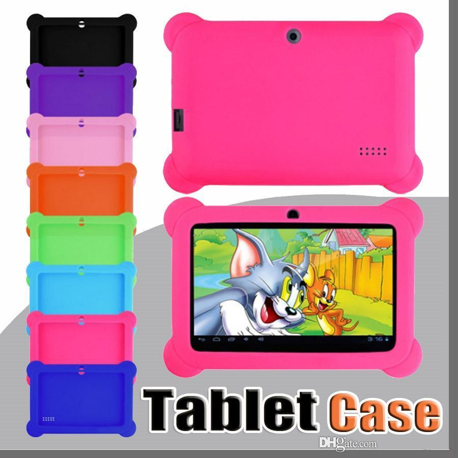 "Anti Dust Kids Child Soft Silicone Rubber Gel Case Cover For 7"" 7 Inch Q88 Q8 A33 A23 Android Tablet pc MID Free shipping"