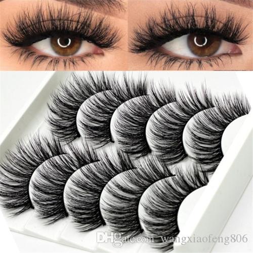 2019 3D 5Pairs Faux Cils Naturel Longue Épais Mixte Faux Cils Maquillage Vison
