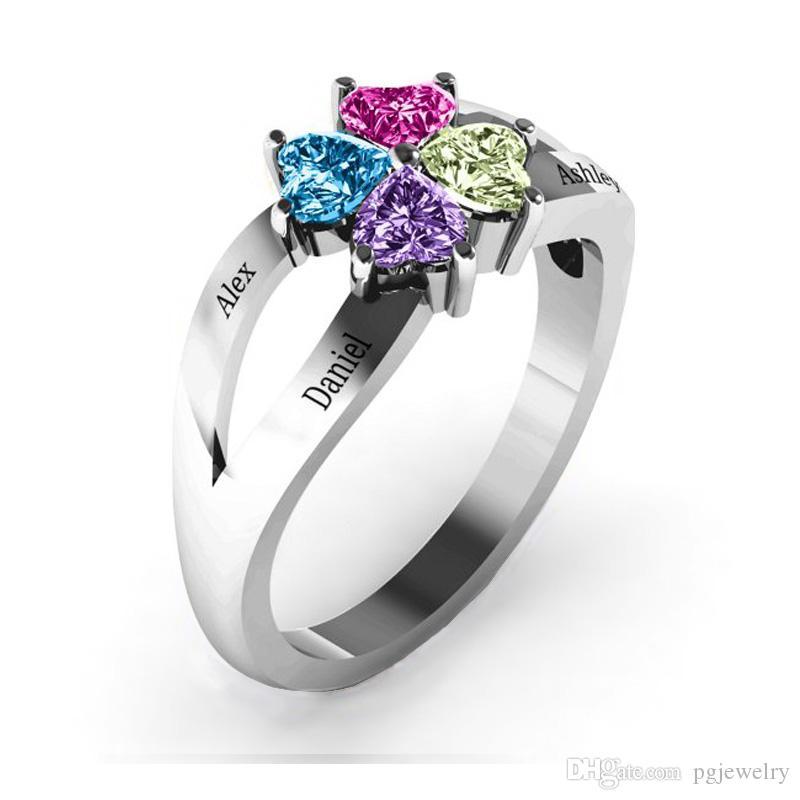 Nova chegada 2 peças / lote 925 prata esterlina personalizado gravado amor e sorte birthstones anel esterlina sliver jóias presente