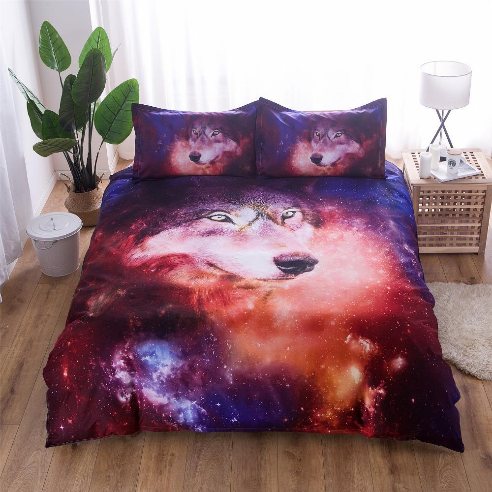 BEST.WENSD Juego de cama africano Juego de cama unicornio king size Textil para el hogar Juego de edredón doble lobo Funda de almohada Funda de almohada Nuevo