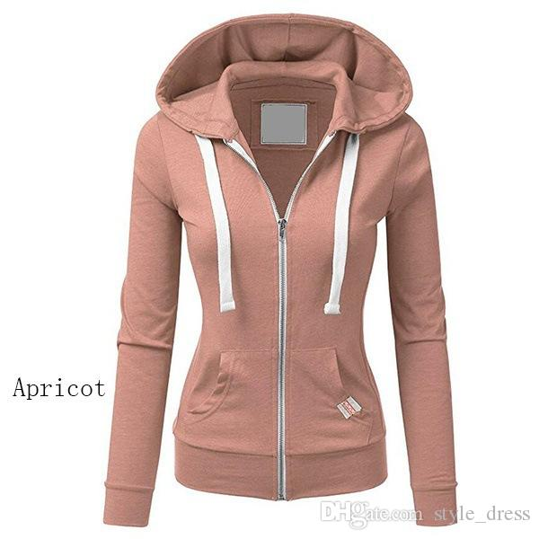 Femmes Casual Zipper sweat à capuche manteau à capuchon Veste Pull-Haut