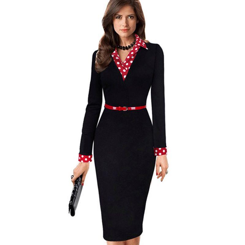Women Elegant Vintage Autumn Polka Dot Turn Down Collar Belted Wear To Work Office Casual Long Sleeve Sheath Pencil Dress Eb334 T190801