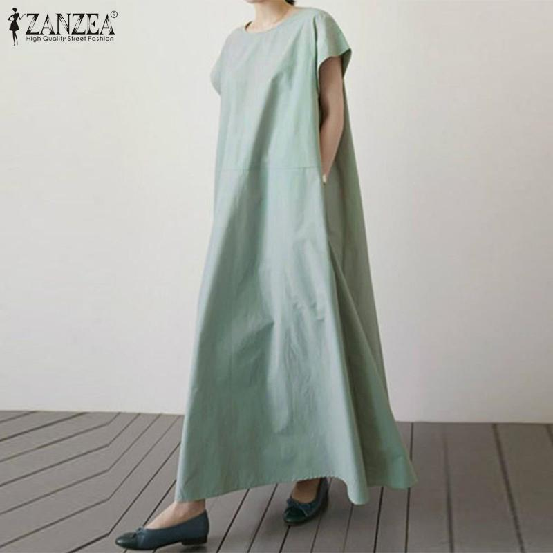 ZANZEA 2020 mujeres de algodón de lino vestido de verano de la playa Kaftan Vestido de tirantes femenino ocasional sólido de manga corta del tobillo holgado vestido Vestido 5XL