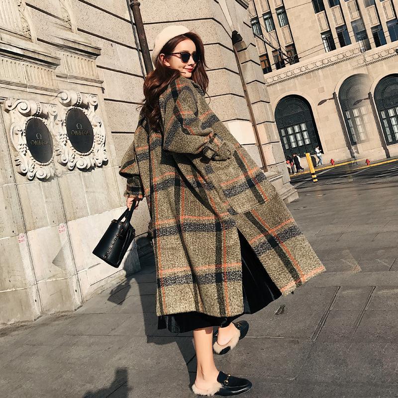 Moda Sólida Mulheres Casaco De Lã Longo Escritório Senhora Casaco de Cintura Larga das mulheres Xadrez Casaco E Jaqueta de Caxemira SH190827