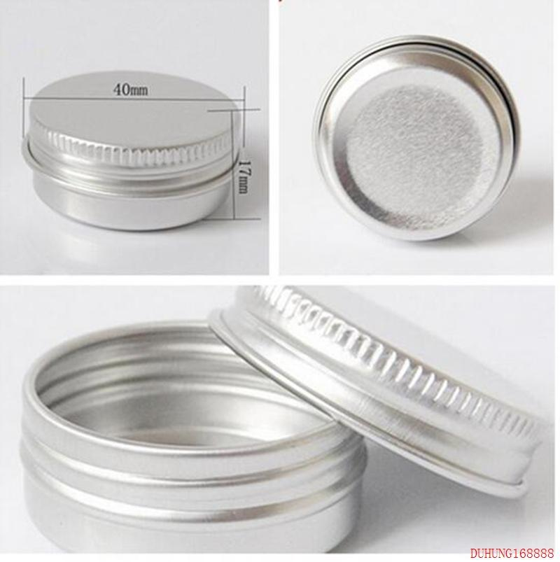 Free Shipping 15ml Aluminium Balm Tins pot Jar 15g comestic containers with screw thread Lip Balm Gloss Candle Packaging 115#