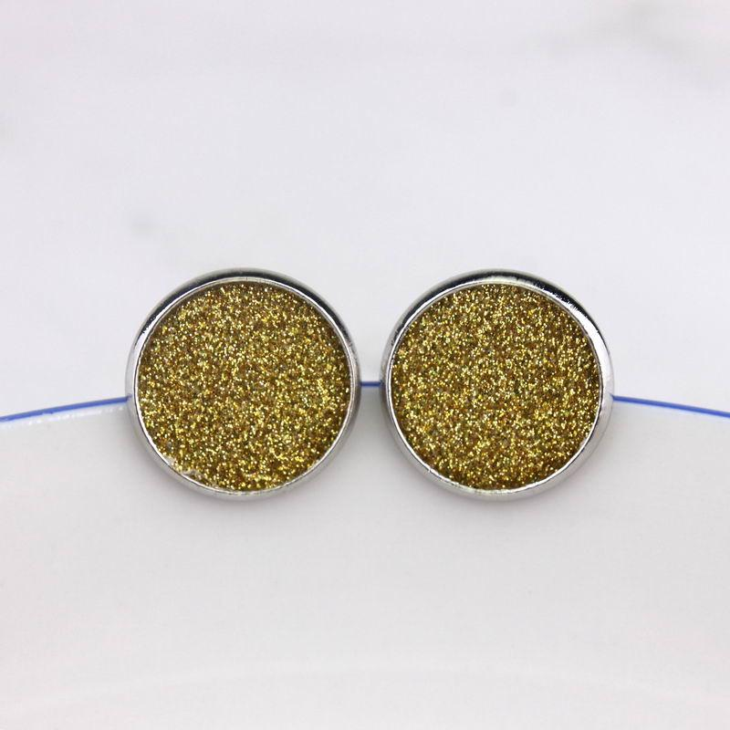 جولة 16mm وبريق جلدية أقراط القرص في الروديوم مطلي لنحاس المرأة الصغيرة قرص جلد داينتي الأزرار مجوهرات