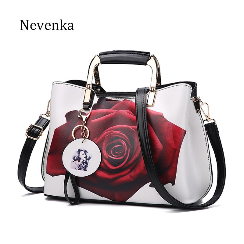 Nevenka 여성 핸드백 패션 스타일 여성 페인트 어깨 가방 꽃 패턴 메신저 가방 가죽 캐주얼 토트 저녁 가방 J190716