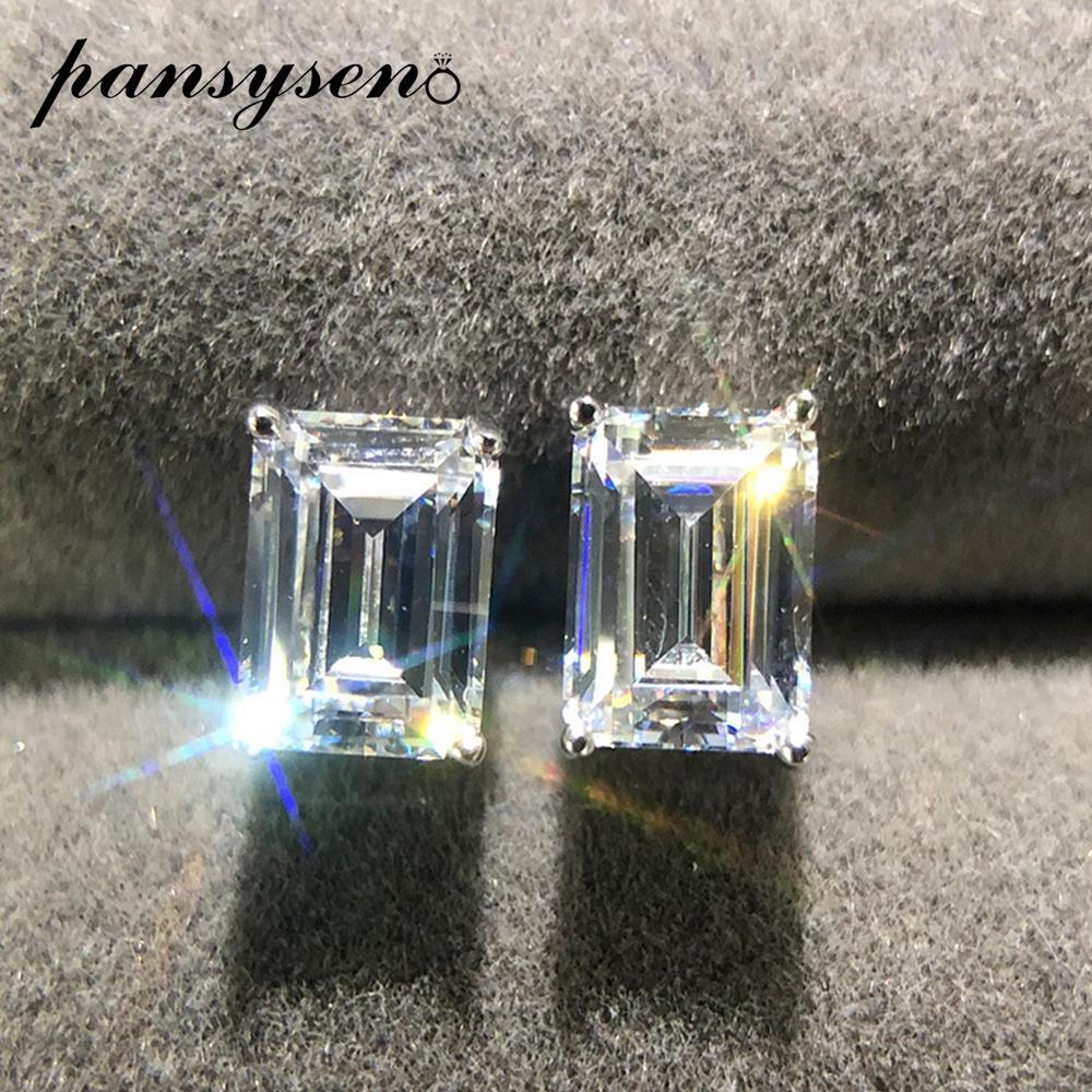 PANSYSEN бренд прямоугольник создан Moissanite Алмаз серьги стержня для женщин чисто стерлингового серебра 925 серьги Леди ювелирные изделия подарок