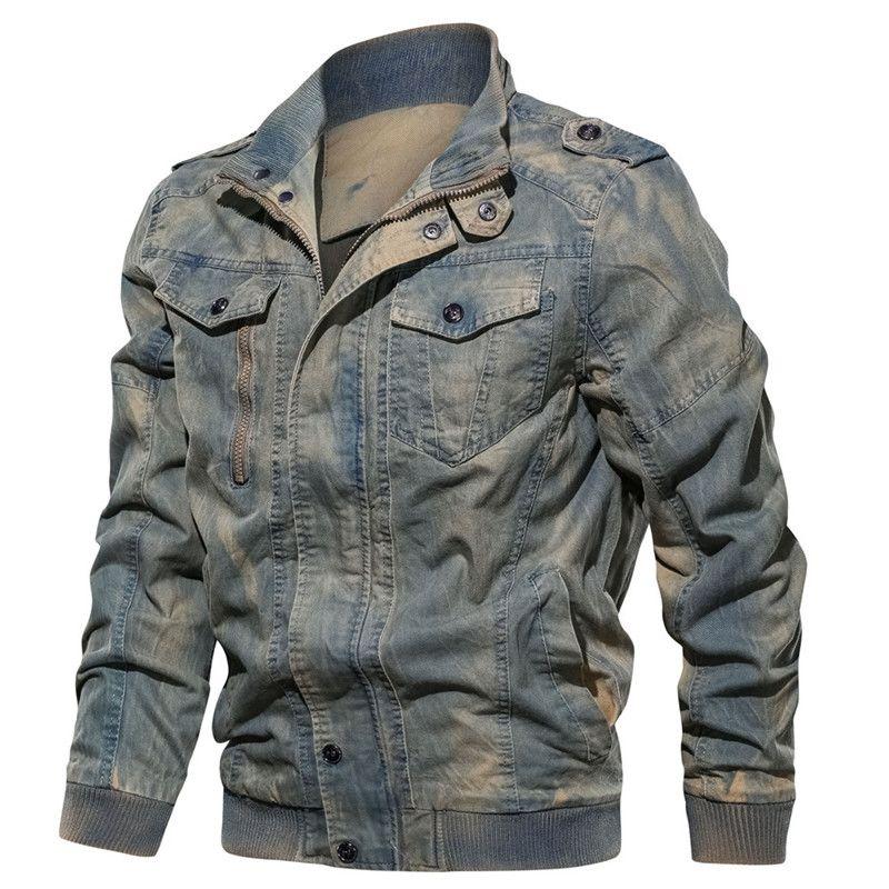 Frühling und Herbst Street Mens Jeansjacke Trendy Mode Ripped Bomber Jacken Herren-Jeans-Jacke Outwear Male Cowboy Coats 6XL
