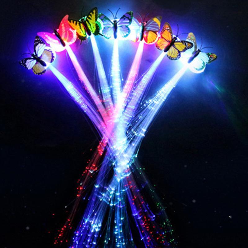 20 pezzi parrucche LED incandescente flash ligth capelli treccia clip tornante bambini capretto natale compleanno giocattolo regalo ornamento dei capelli SH190913