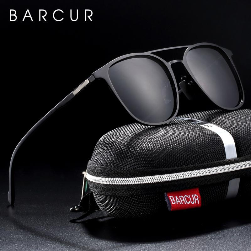 BARCUR Brand Round Sunglasses Men TR90 Temples Black sun glasses for Women Shades Polarized Eyewear lunette de soleil femme