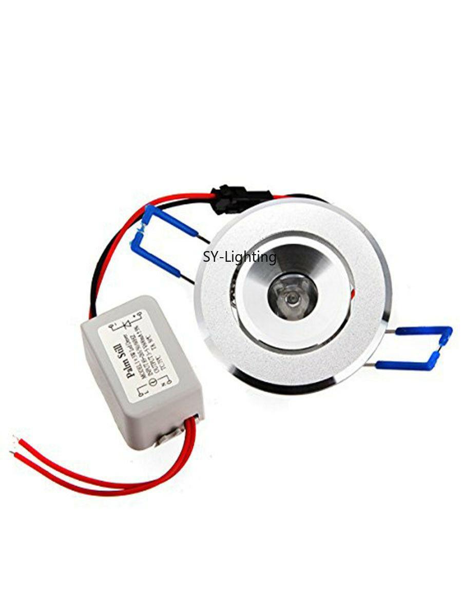 1W LED Cabinet de lumière spot encastré DownLight lampe ampoule rouge vert bleu jaune blanc chaud UV (paquet de 10)