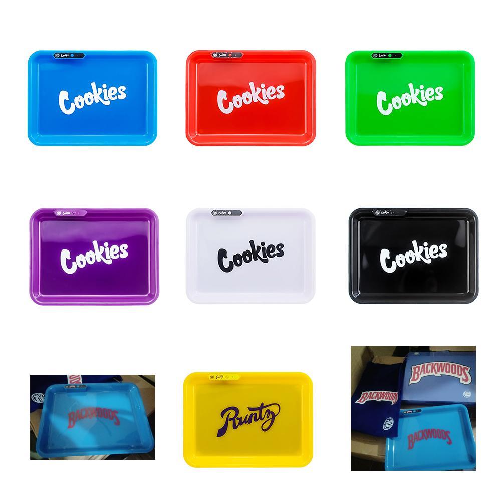 롤링 (420) 드라이 허브 꽃과 함께 상자에 대한 재고 있음 쿠키 Runtz 불모지 캘리포니아 Glowtray 파란색 빨간색 녹색 노란색 LED 롤링 발광 트레이