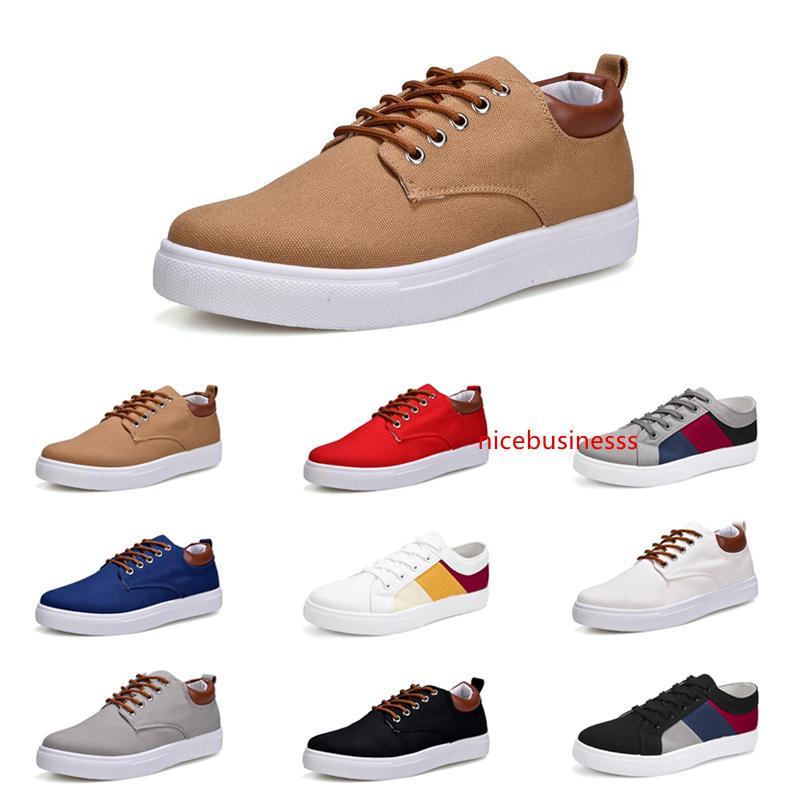 İyi 2020 Erkekler Ayakkabı No-Marka Tuval Spotrs Casual Sneakers Beyaz Siyah Kırmızı Gri Haki Mavi Moda Yeni Stil Ayakkabı Boyut 39-46