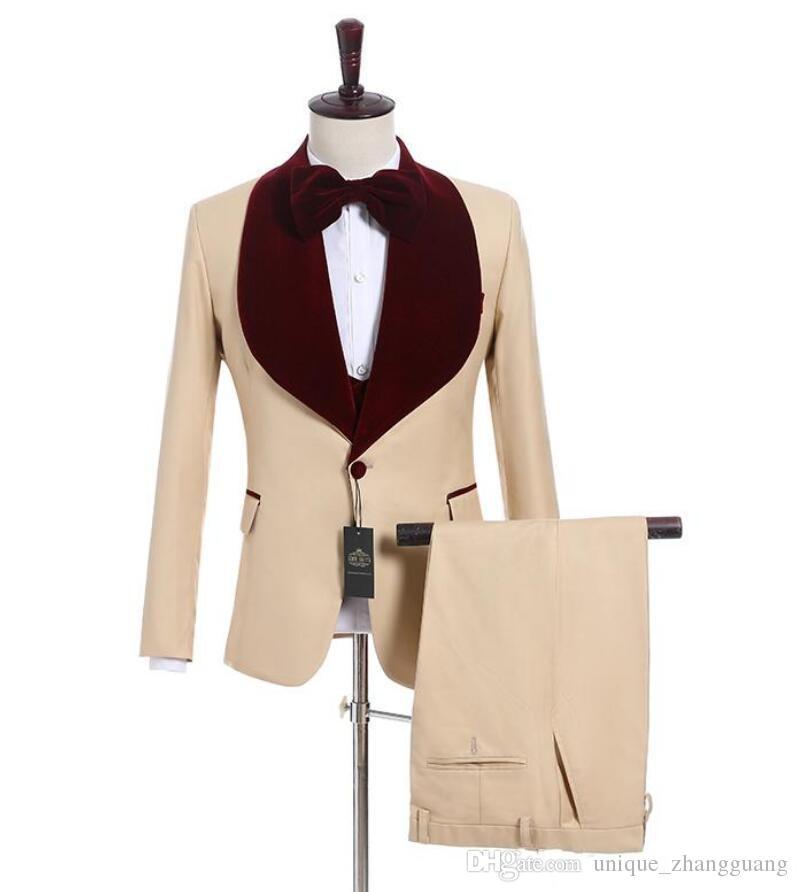 Brand New Champagn Groom Tuxedos Wine Velvet Lapel Side Vent Groomsmen Blazer Excellent Men Dinner Prom Suit(Jacket+Pants+Tie+Vest) U89
