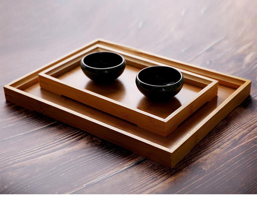 Ev Dikdörtgen Bambu Ahşap Çay Tepsileri Doğa Ahşap Narin Mutfak Ekmek Pasta Yemekler Çoklu Boyut Çay Gıda Atıştırmalık Tabaklar VT1607