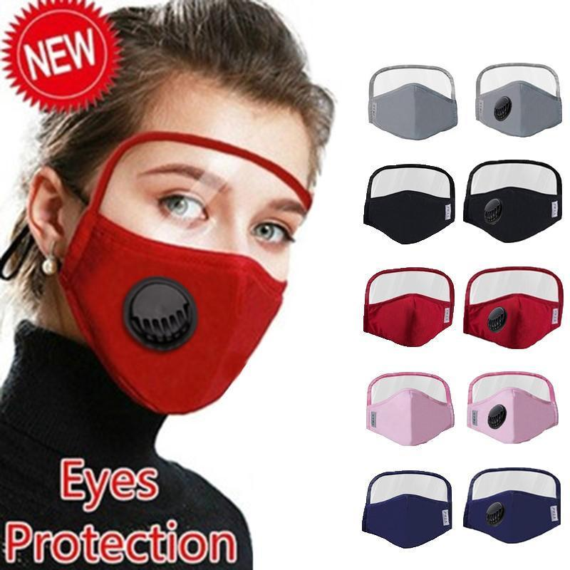 2020 NEW Designer Cotton Mask Dustproof Protective 2 in 1 Mask with Eyes Shield for man women Reusable Washable Mask DHL Shipping