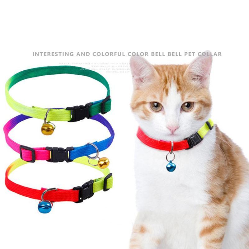 نايلون كلب القط طوق جودة عالية قوس قزح ملون الياقات الحيوانات الأليفة للتعديل للكلب مع جرس للحيوانات الاليفة القط الصغيرة