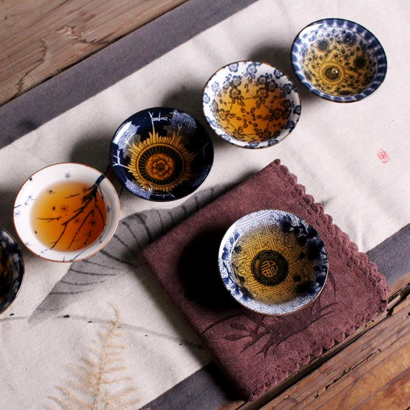 2020 NEW Ceramic Kung Fu Tea Set Japanese Style Small Single Cup Antique Blue and White Porcelain Cup Personal Master Cup
