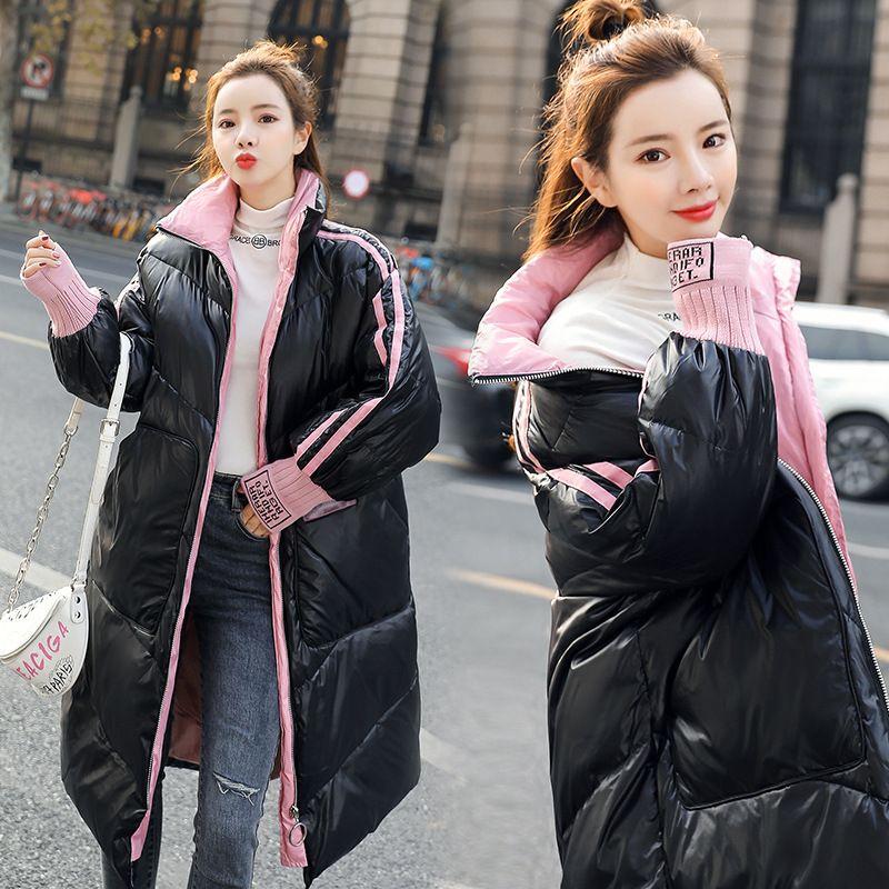 2020 New Style superfície brilhante Down Jacket Mulheres Mid-length inverno coreano de estilo New Style solto e Plus-sized casaco quente Longo