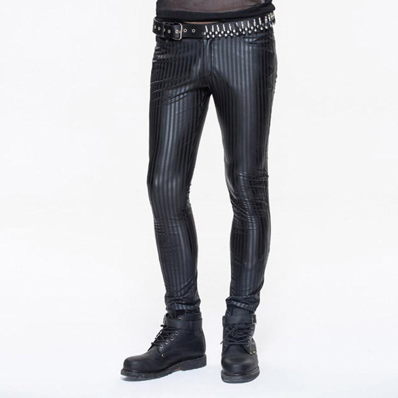 Diable Mode Printemps Nouveau Steampunk Hommes Pantalons en cuir Casual hommes taille haute noir rayé Pantalon Hommes Slim Fit