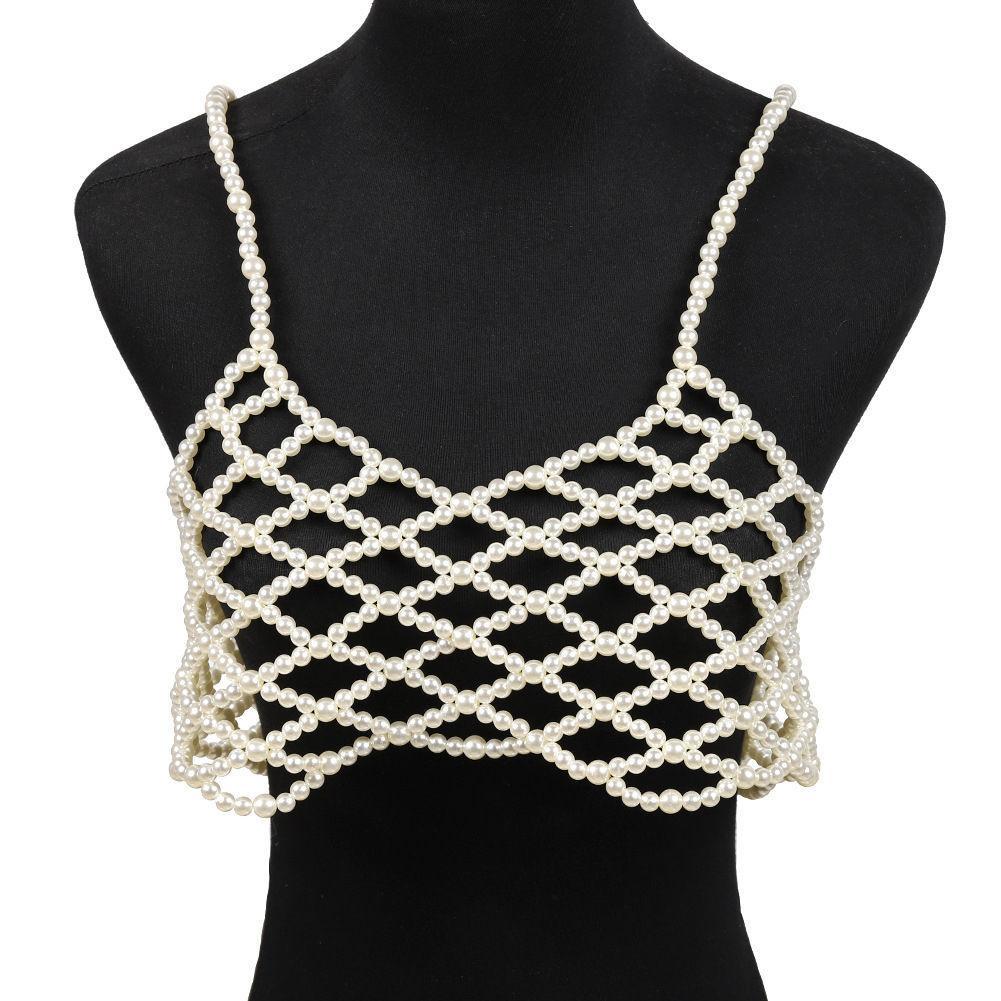 Le donne del collo V Accessories Pearl solido Gioielli Vest regalo rilievo Handmade Slim Craft Via del corpo di modo cassa catena Sling T200508