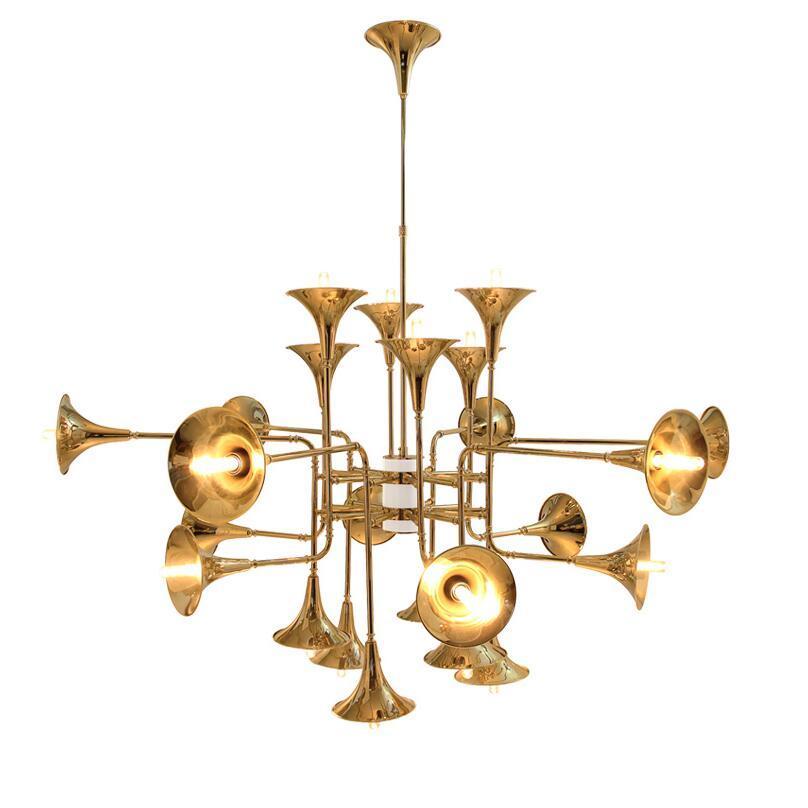 Post Modern 12/16/24 Kopf Entzückend Botti Ausgestelltes Trompete-Goldpendelleuchte Lampe Hängeleuchte Leuchte Licht für Hallenraum