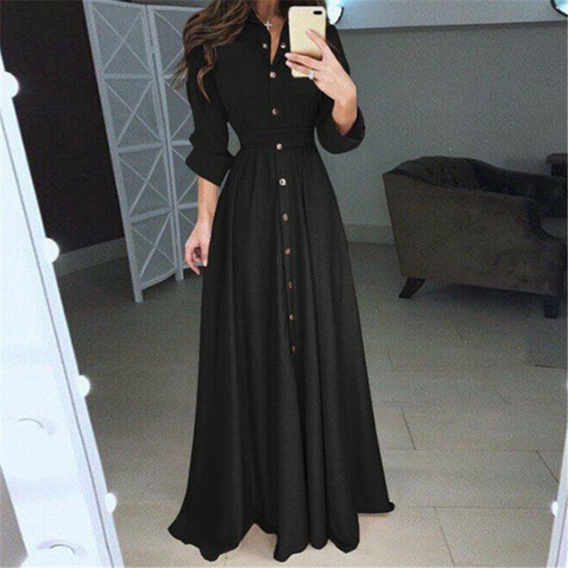 Vestido de mujeres 2019 otoño vintage moda sólido túnica casual vestidos casuales manga larga vestidos botón rojo blanco negro vestido negro femenino