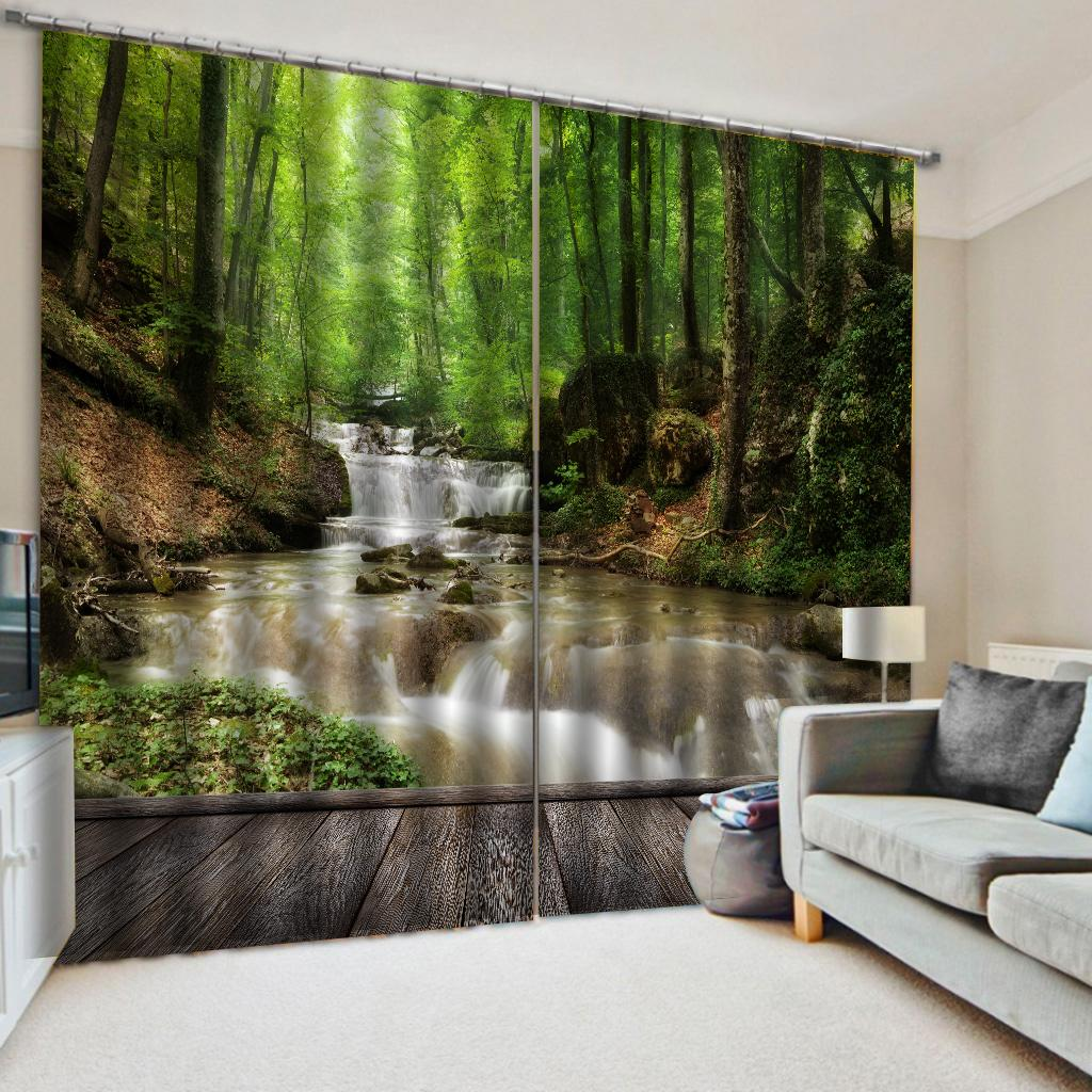 Foto paisaje verde 3D cortinas Blackout cortinas para estar Sala de cama sala de cortinas Cotinas