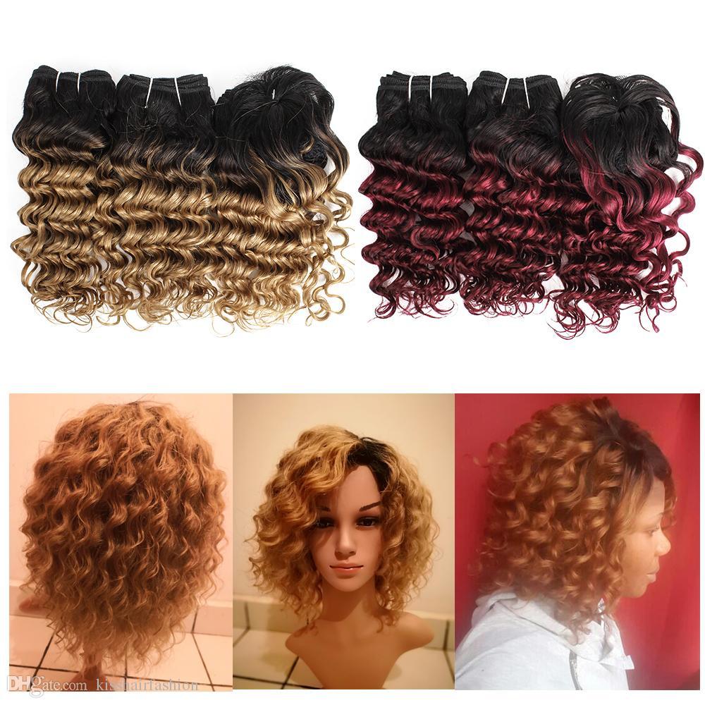 Kiss Hair Romance Curl Ombre Couleur Blonde Bourgogne Brown Auburn Short Bob Style 3pcs 155g Brésilien Deep Wave Ombre Cheveux