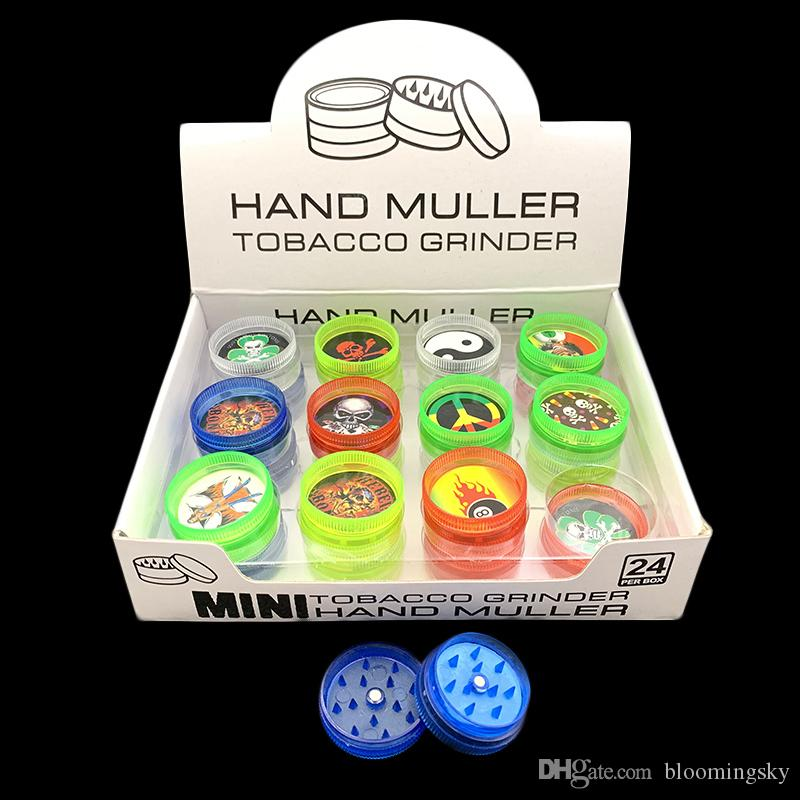 30mm 2Layer Mini Smoking Herb Grinder 24ps/lot 2-piece Acrylic Hard Plastic Smoke Tobacco Muller Spice Crusher Colors with stickers