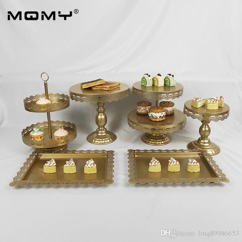 6 Шт. Золото Белый Розовый Украшения Питания Набор Лоток Металлический Висит 3 Уровня Пластины Свадебный Торт Стенд