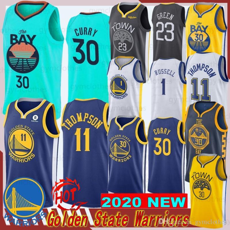 ستيفن كاري 30 رجل جيرسي كلاي طومسون 11 NCAA كرة السلة جديد الفانيلة Draymond 23 أسلوب الأخضر أعلى جودة مخيط الفانيلة