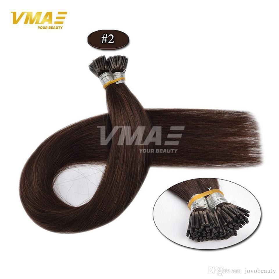 VMAE Strand Europe 1 g 50 g Brun naturel Blond double droit Dessiné Kératine Bâton Pre Bonded I Tip Virgin Remy prolongements de cheveux humains