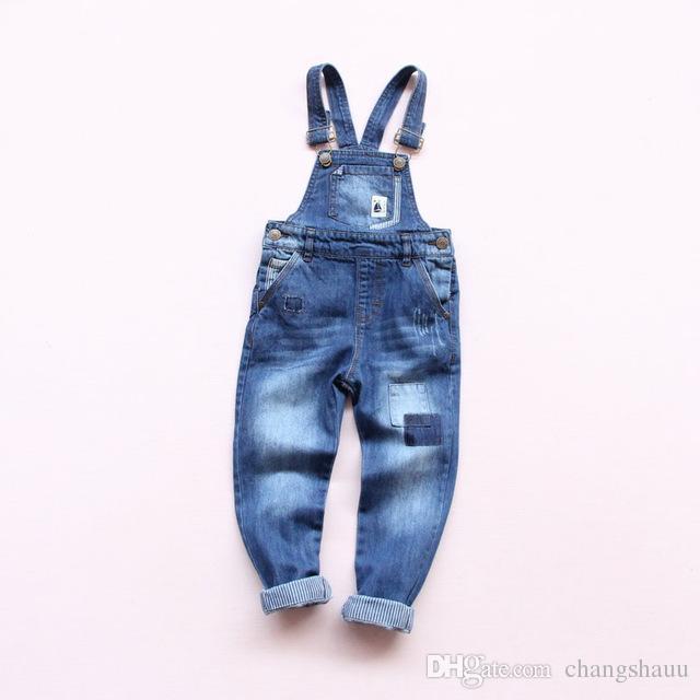 Neue Frühling Baby Jungen Mädchen Denim Overall Jeans Kinder Denim Overall Kind Frühling Herbst Lange Hosen Hohe Qualität Jeans