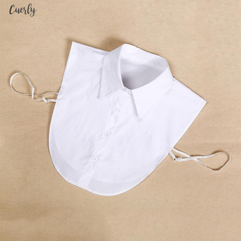 패션 여성 쉬폰 블라우스 셔츠 가짜 칼라 흰색과 검은 색 타이 분리 칼라 옷 깃 쉬폰 블라우스 톱 여성 의류