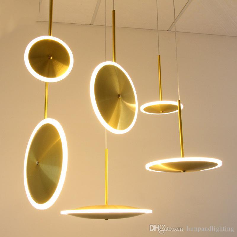 현대 알루미늄 접시 LED 펜 던 트 램프 침실 조명기구 생활 접시와 커피 바에 대 한 아크릴 중단 램프