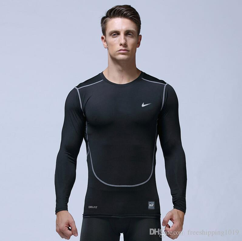 Mens Workout Compression Tights Long Sleeve Gym Plain Shirts Breathable Cool Dry