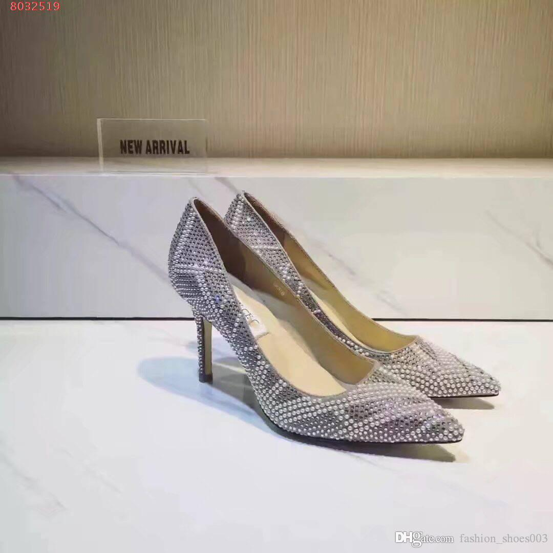 2019 Shiny Elegant Pumps With Rhinestones Women Sexy Pointed Toe High Heels Glitter Dress Shoes Stiletto Heel Party Shoes Size 34-39