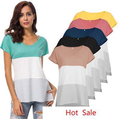 США новая мода лето женщины Майка полоса печатных лоскутное цвет хлопок печатает футболка с коротким рукавом О-образным вырезом Майка
