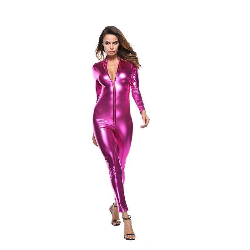 Women Sexy Pu Leather Pvc Jumpsuits Clubwear Sexy Bodysuit Night Party Costumes Full Catsuit Wtb2022