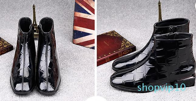 Hot Vente- New Fashion Style Automne Hiver à glissière latérale cheville Bottes style britannique Femmes Simple Chaussures Martin Bottes