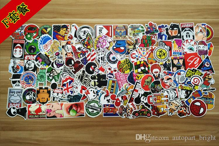 hot sale Pack New Car Stickers Skateboard Guitar Travel Case bicycle motorcycle sticker Car decal individuality fashion sticker 100pcs