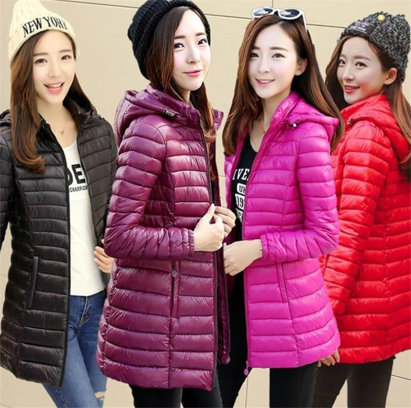 Plus Size Womens Winter Light parka Giacche modo casuale sottile incappucciato lungo incappucciato caldo giù il cappello staccabile Womens Coat