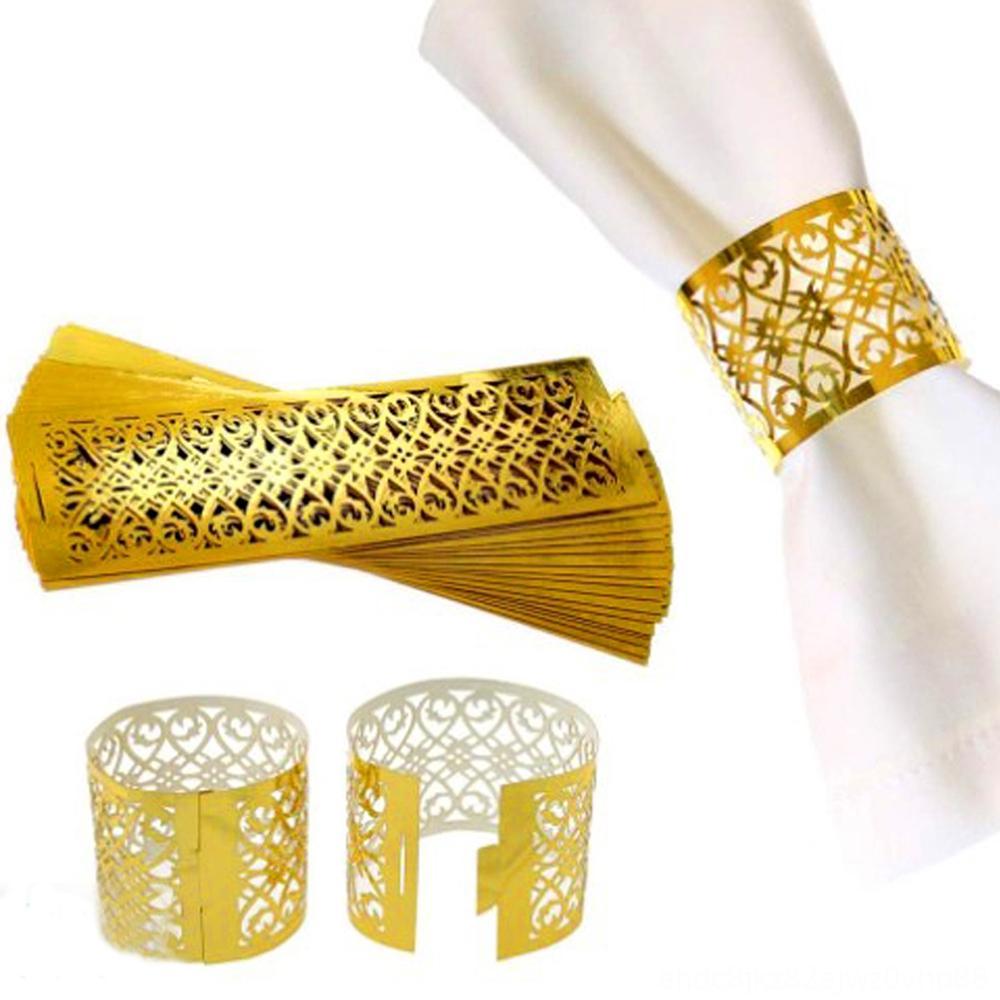 50pcslot tovagliolo decorazioni Accessori cucina, sala bar anelli per Wedding Decorazione della tavola gonna principessa principe strass Gol
