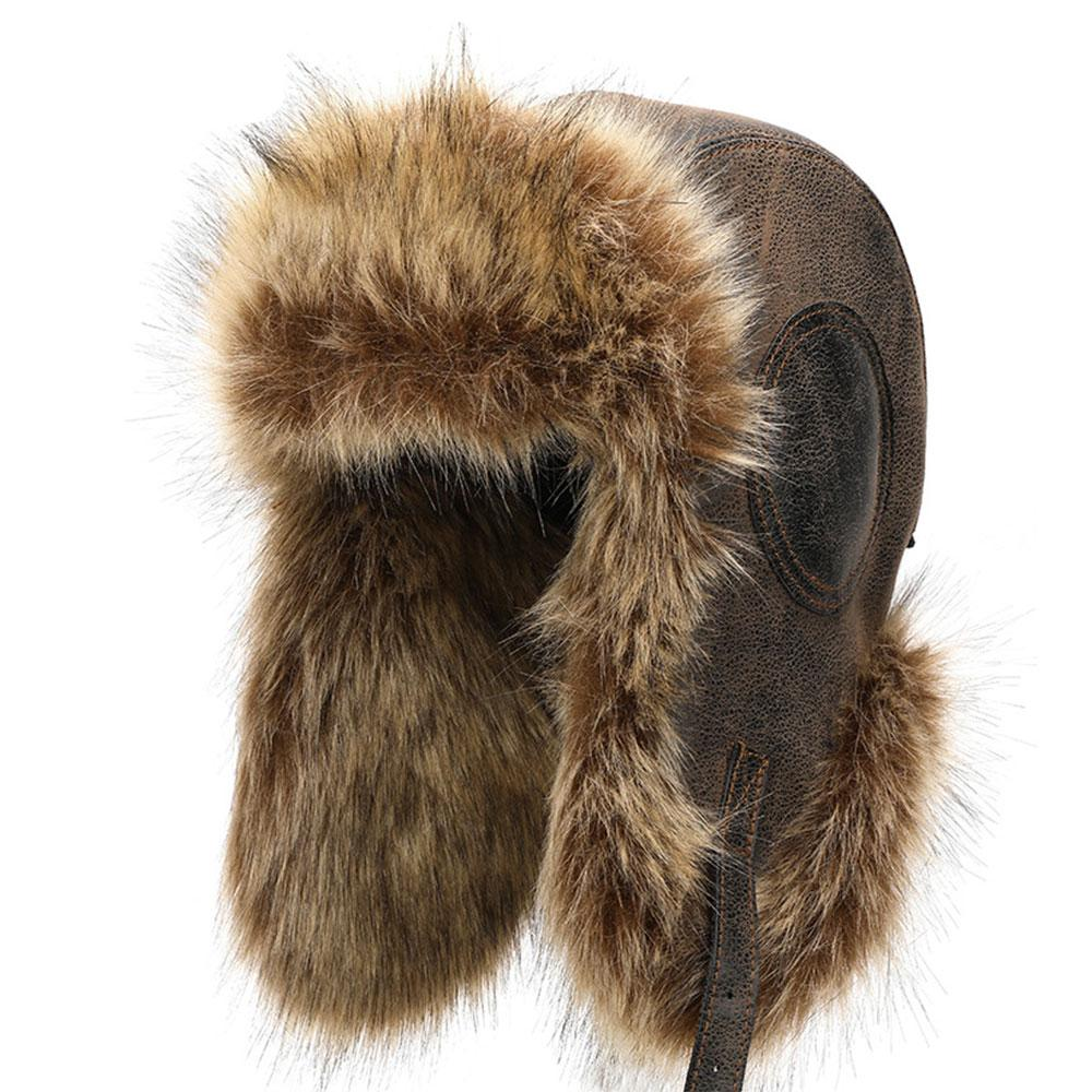 Winter Hat Men Women Pilot Aviator Faux Fur Hat Snow Cap with Earmuffs Outdoor Ski Warm Thick Hats 2019 New