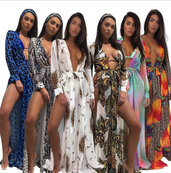 Boho Robes de fête Dressing Bikini Smock été Long Beach en mousseline de soie léopard coloré