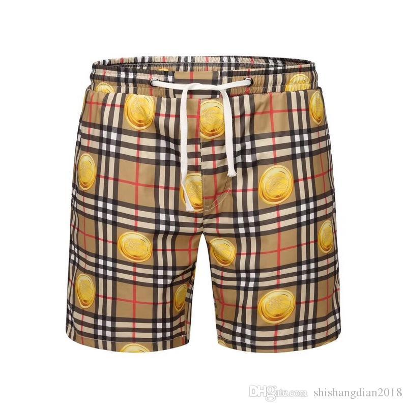 2019 yaz yeni liste kaliteli giyim erkek şort ekose baskılı plaj pantolon M-3XL B2327