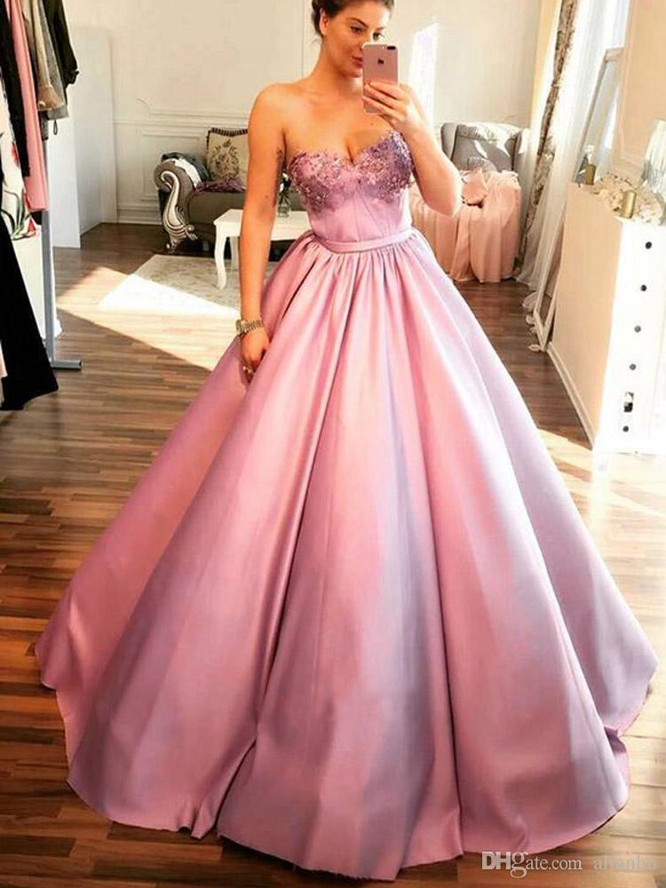 2019 Pink Ball Gown Quinceanera Dresses For Sweet 15 Pleats Sweetheart Princess Sequins Beaded Prom Dresses Vestidos 15 Anos Ballkleid Quinceanera